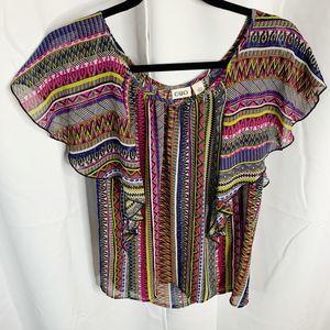 Cato striped boho bright blouse L